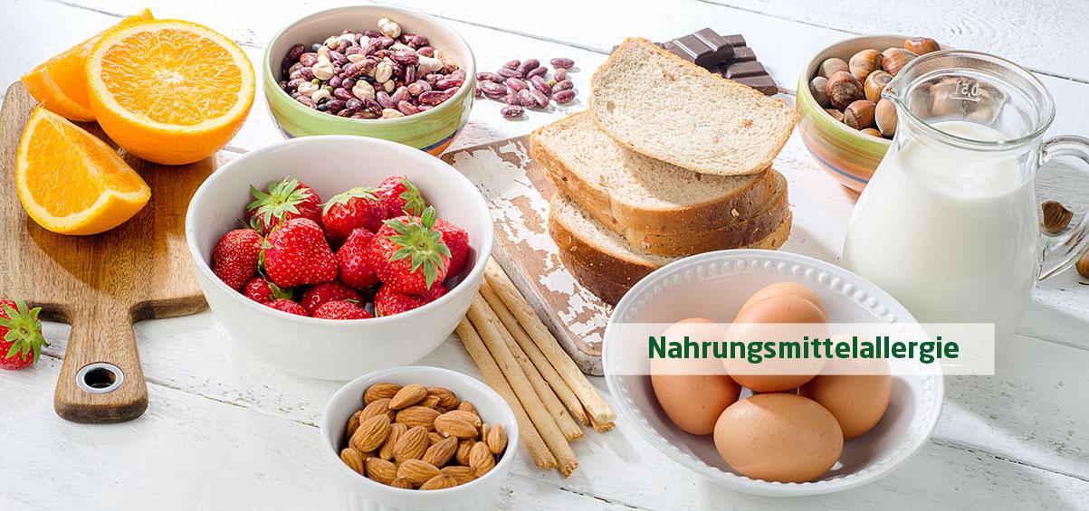 verschieden Nahrungsmittel, die Allergien auslösen können